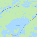 The route we took from Moose Lake to Snowbank Lake, August 2019