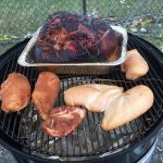 Smoked Spiral Ham and Chicken Breasts on the Weber Smokey Mountain
